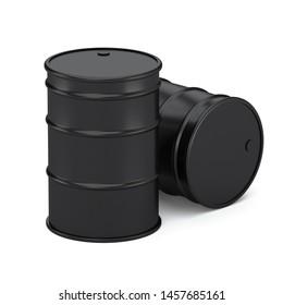 Black oil barrels isolated on white background. Realistic oil barrel 3d render