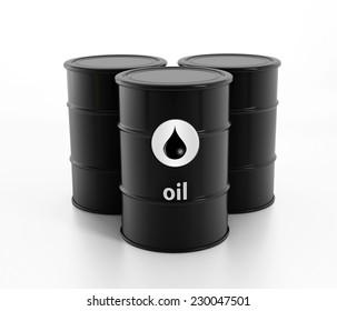 Black oil barrels isolated on white