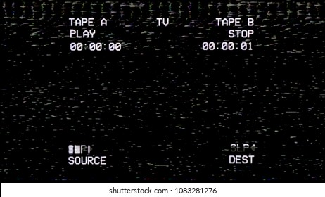 A black old damaged VHS tape sceen tracking a noisy bad signal from a double deck. Cool retro vintage backdrop for modern videos.