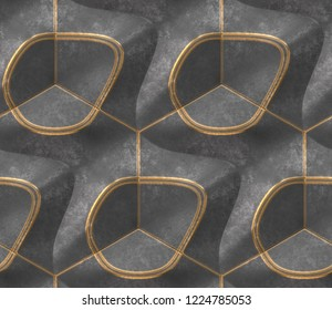 Black old metal geometry tiles with gold frayed edges.High quality seamless realistic texture.