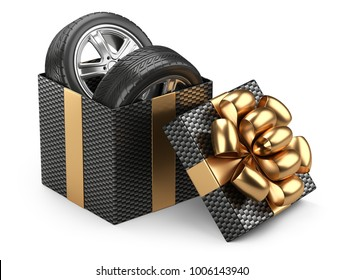 Black open cardboard box gift with car tires whelles and red bow on a cap. 3d illustration isolated on a white backgound.