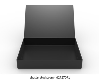 black opened cardboard box on white background