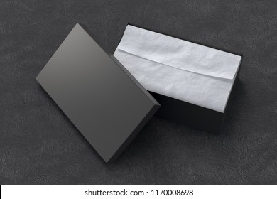 Black opened shoe box container on black background with wrapping paper. Packaging mockup. 3d illustration