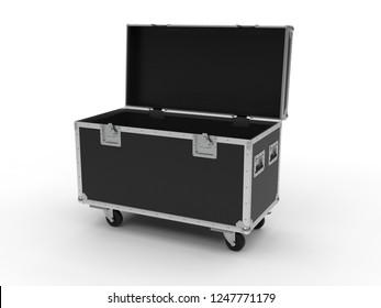 Black opened simple flight case on white background. 3D render