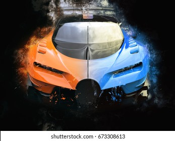 Black and orange supercar - grungy - 3D Illustration