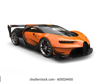 Black and orange supercar - studio shot - 3D Illustration