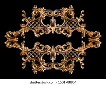 Black ornament with gold patina on a black background. Isolated. 3D illustration