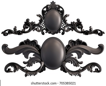 Black ornament on a white background. Isolated. 3D illustration
