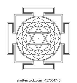 black outline hinduism Bhuvaneshwari yantra Prakriti illustration sacred diagram isolated on white background