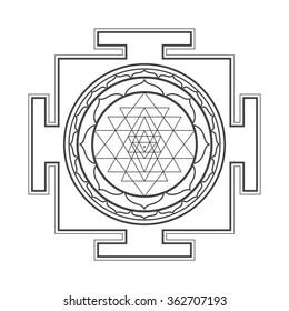 black outline hinduism Sri yantra Sri Chakra illustration triangles diagram isolated on white background