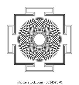 black outline hinduism thousand petal Sahasrara yantra illustration triangles diagram isolated on white background