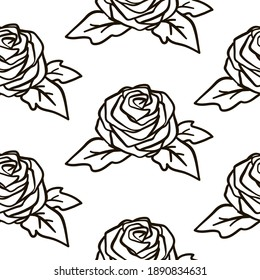 Black outline roses seamless pattern.