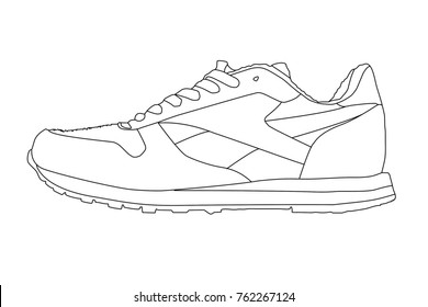 Running Shoes Drawing Images, Stock