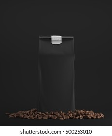 Black pack of coffee surrounded by coffee beans and standing against black background. 3d rendering. Mock up
