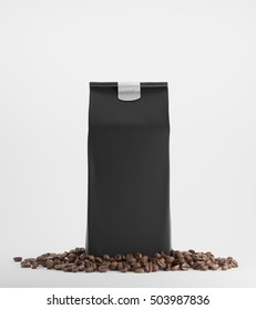 Black pack of coffee surrounded by coffee beans and standing against white background. 3d rendering. Mock up