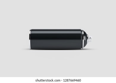 Black Paint Aerosol Spray Metal Bottle Can, Graffiti, Deodorant, Household Chemicals, Isolated On White Background. Mock Up Template For Your Design. 3D rendering