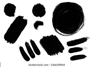 Black paint, polish, construction and finishing varnish pearl, glitter brush shapes set, masks kit. Universal elements for design, flyers, cards, branding and digital scrapbooking.