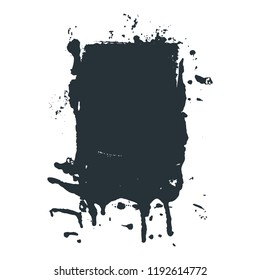 Black paint, spilled black ink stain, brush stroke in grunge style. Dirty artistic design element, box, frame or background for text.