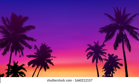 Black palm trees silhouettes at colorful sunset background, tropic banner illustration background.