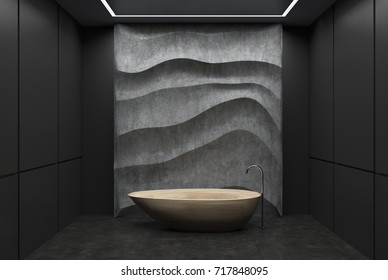 Black panel bathroom interior with a concrete floor, a wooden tub, a concrete wavy decoration element on a wall. 3d rendering mock up