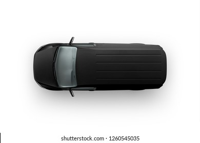 Black Panel Van Vehicle top view. 3D rendering