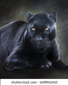 It's a black panther, beautiful and graceful, oil painting