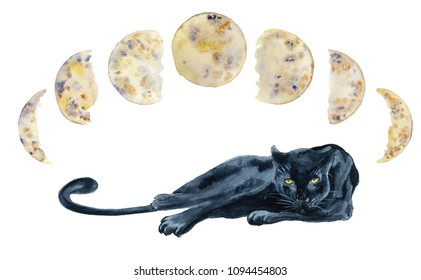 Black panther and moon phases watercolor hand drawn illustration