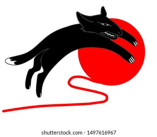 a black panther with sharp teeth jumps against a red ball of red thread