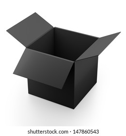 black paper open box isolated. 3d render