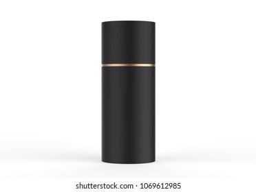 Black paper Tube Tin can isolated on white background, 3d illustration.