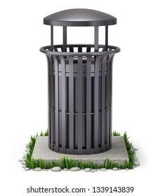 Black park trash bin on white background - 3D illustration