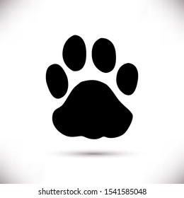 Black paw icon isolated on white background . Perfect for design of blog ,banner,poster,fashion,web sites,apps,typography,T-shirt,logo,hild prints.Flat illustration.Raster version