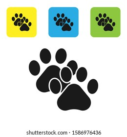 Black Paw print icon isolated on white background. Dog or cat paw print. Animal track. Set icons colorful square buttons.