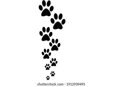 Black paw print on a white background
