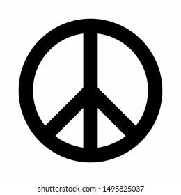 Black peace symbol isolated on white background