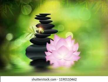Black pebbles pile with flower, zen stones, spa themed design.