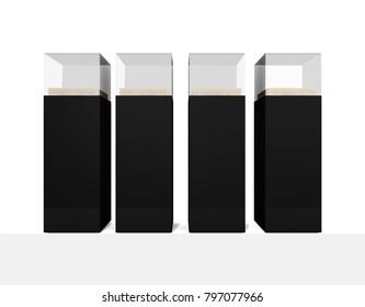 black Pedestal glass display Empty on white background . 3d illustration