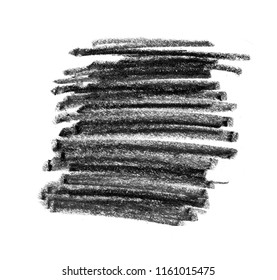 Black pencil texture for background. Hand drawn strokes motif. Abstract line spot design element.