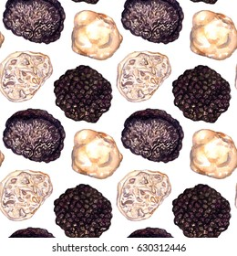 Black Perigord and White Truffles, seamless pattern design, hand painted watercolor illustration