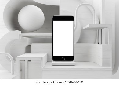 Black Phone Mockup on White Wood Minimalistic showcase, with abstract and primitive geometric shapes. Front view. 3d rendering