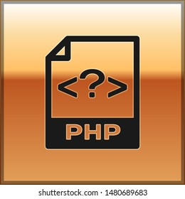 Black PHP file document icon. Download php button icon isolated on gold background. PHP file symbol