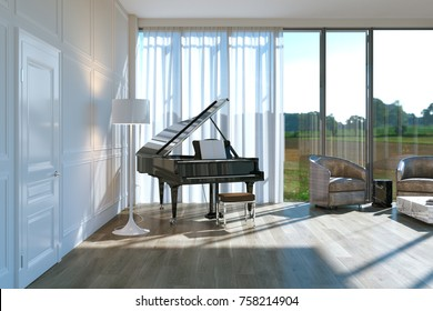 Black piano in classic white interior 3d render