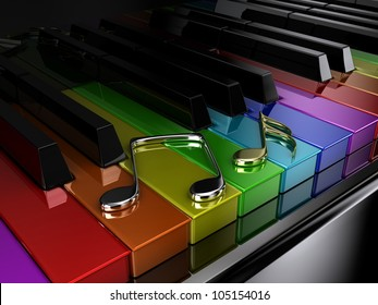 The black piano with keys of different colours of a rainbow