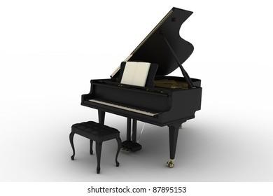 Black piano on white background