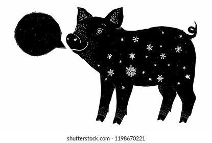 Black pig ink grunge silhouette with white snowflakes and speech bubble frame isolated on white background