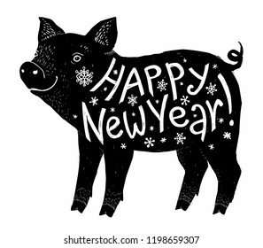 Black pig silhouette with white Happy New Year lettering inside, greeting card element isolated on white background