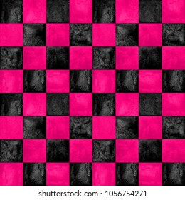 Black and pink checkered plaid seamless pattern. Bright watercolor hand drawn texture background. Watercolour chess trendy background. Print for textile, fabric, wallpaper, wrapping, tile.