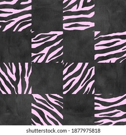 Black and pink checkered plaid zebra seamless texture. Watercolor hand drawn pattern background. Watercolour chess trendy background. Print for textile, fabric, wallpaper, wrapping paper, tile.