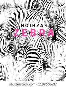 Black and pink texts on zebra patterned background. JPEG format.