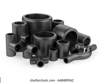 Black pipe fittings set on a white background. 3d high resolution illustration.